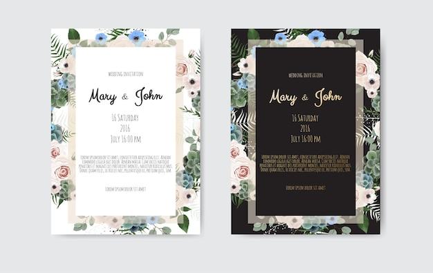 Приглашение вектор с цветочными элементами ручной работы. свадебные приглашения с цветочными элементами