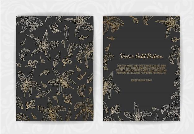 Золотое приглашение с цветочными элементами.