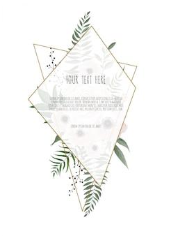 葉と幾何学的なフレームを持つカード