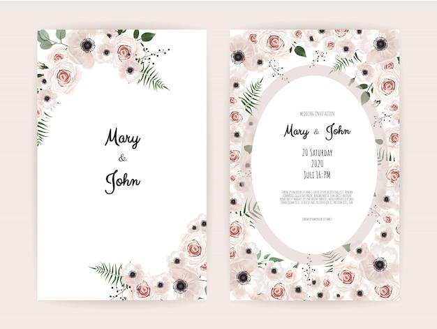 手作りの花の要素を持つ招待状。
