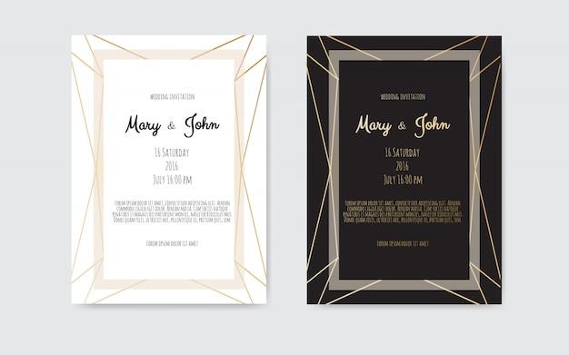 結婚式招待状、幾何学的な芸術線、金箔ボーダー、フレームの招待カード。