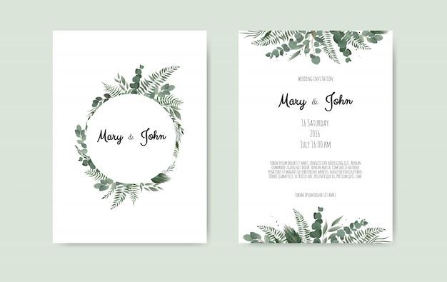 植物の結婚式の招待状カードのテンプレートデザイン