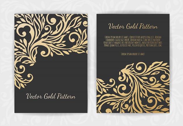Золотая винтажная открытка на черном