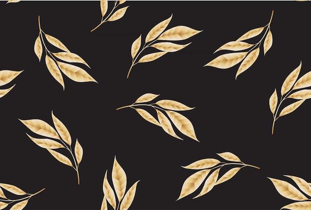 金の植物の枝から成るシームレスパターン。