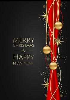ベクトルゴールドスター、クリスマスボール、テキスト用のスペースとベクトルバナー。