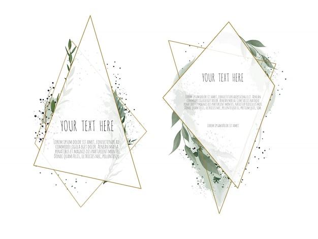 Карточка с листьями и геометрической рамкой.