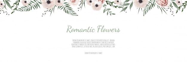 Горизонтальный баннер с листьями и цветами