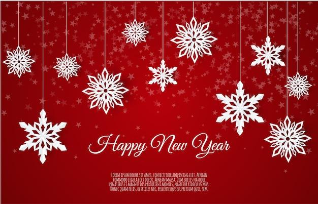 Рождественская открытка с бумажными снежинками, падающими снежинками на зимнем фоне,