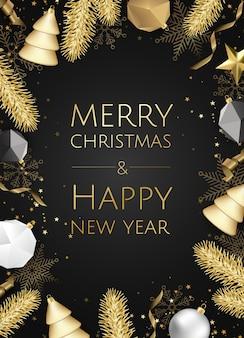 ゴールドラメテクスチャ、クリスマスカードとクリスマスと新年の背景