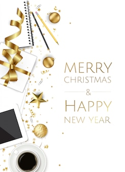 ゴールデンスター、ボール、メリークリスマスと幸せな新年の背景