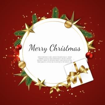 Новогодняя рамка с подарочными коробками, еловыми ветками, елочными шарами, звездами,