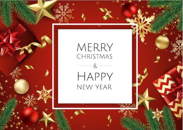 金色の星とメリークリスマスと幸せな新年の背景