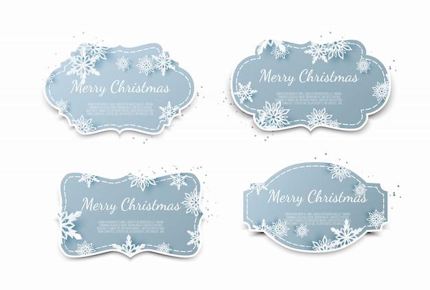 クリスマスの紙タグのセット
