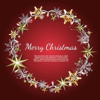 メリークリスマスと新年あけましておめでとうございます、輝くゴールドとシルバーの雪の結晶、グリーティングカード、休日のバナーとクリスマスの背景、