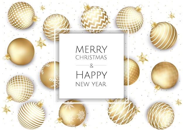 Рождество и новый год фон с золотыми шарами, рождественская открытка