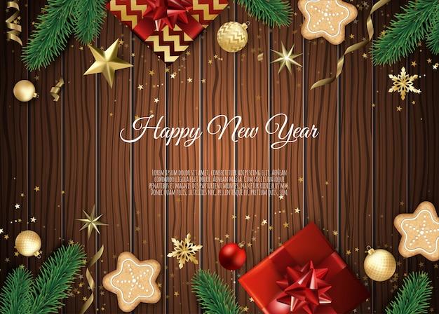 クリスマスツリーの枝、金の星、クリスマスボール、テキスト用のスペースとバナー、