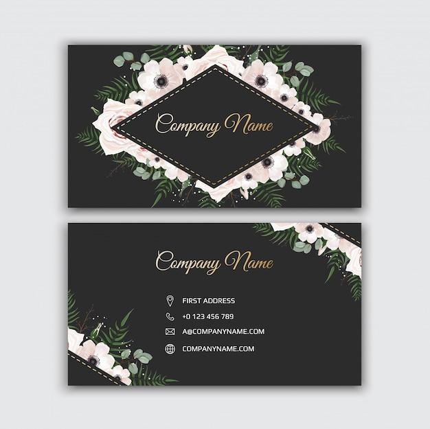 Визитная карточка с красивыми цветами. шаблон.