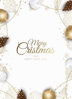 ゴールデンクリスマス飾りフレームグリーティングカード