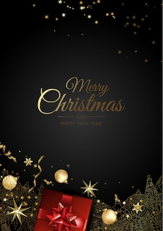 Рождественская открытка с елочные украшения, сосновые ветки, шары, звезды и снег.