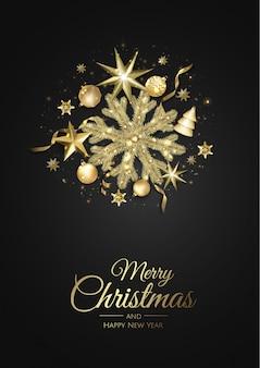 Реалистичная золотая рождественская открытка со снежинками и украшениями