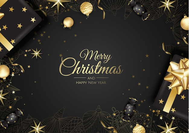 ゴールデンクリスマスボールグリーティングカード