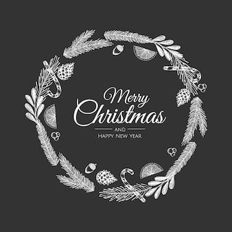 Рождественская открытка с рождественским цветочным венком