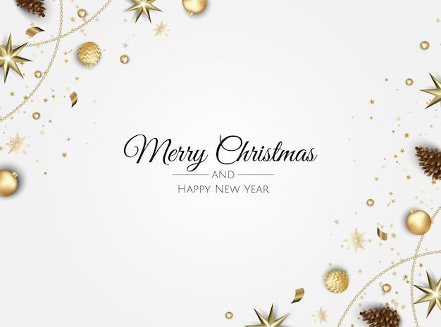Золотые рождественские украшения рамка поздравительная открытка