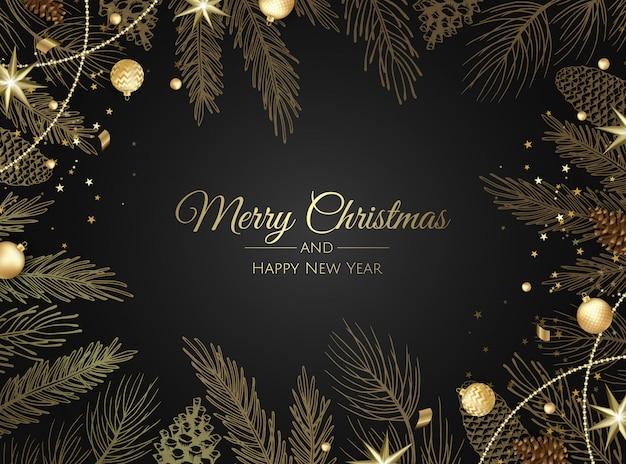 メリークリスマスと幸せな新年の黄金の装飾品グリーティングカード