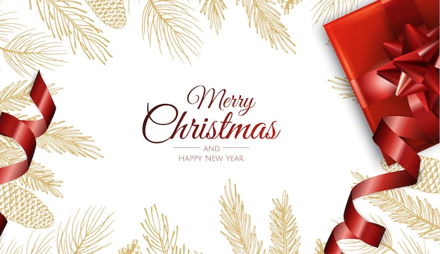 メリークリスマスと幸せな新年の黄金の葉グリーティングカード