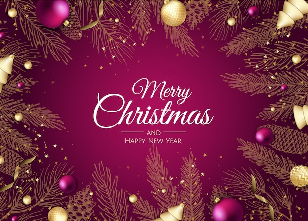 メリークリスマスと幸せな新年の黄金の枝グリーティングカード