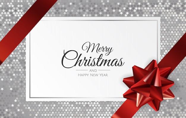 Рождественский фон с подарочной коробкой и лентой