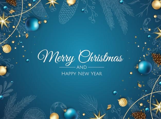 クリスマスの飾りとメリークリスマスの背景