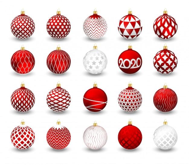 分離された装飾的なクリスマスボールのセット