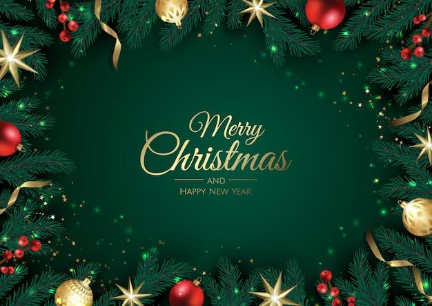 Рождественская открытка с елочными украшениями, сосновыми ветками, снежинкой и конфетти