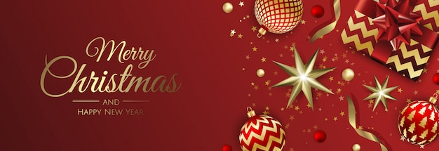 Рождественская открытка с елочными шарами, снежинкой и конфетти