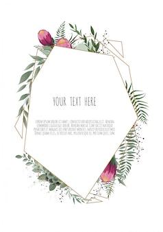幾何学的なフレームを持つ葉を持つ花植物カード。