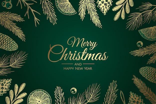冬の植物とメリークリスマスと新年あけましておめでとうございますクリスマス背景