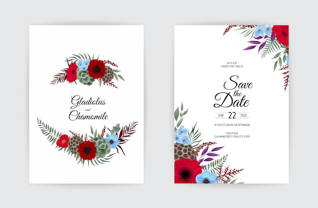Ботанический свадебный пригласительный билет шаблон дизайна.