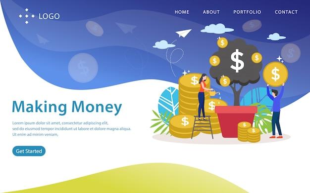 お金を稼ぐ、ウェブサイトのベクトル図
