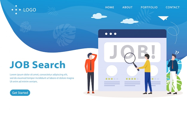 Целевая страница поиска работы, шаблон сайта, легко редактировать и настраивать, векторная иллюстрация