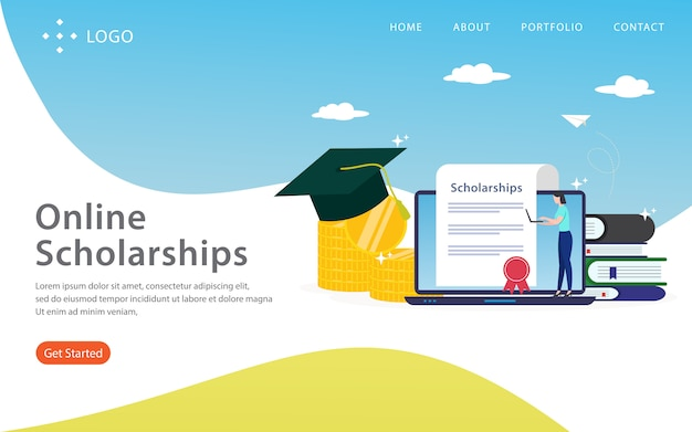 オンライン奨学金、ウェブサイトのテンプレート、階層化、編集およびカスタマイズが容易、イラストのコンセプト