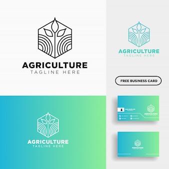 農業エコグリーンラインアートのロゴのテンプレートアイコン要素