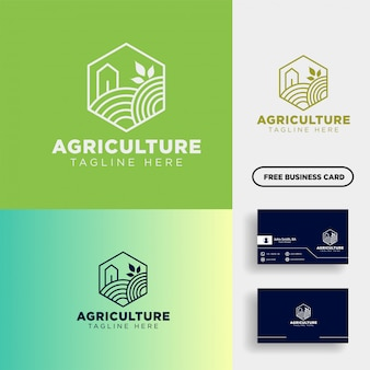 Сельское хозяйство эко зеленая линия искусства логотип шаблон значок элемент