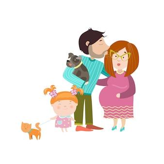 妊娠中の腹を持つ幸せな親