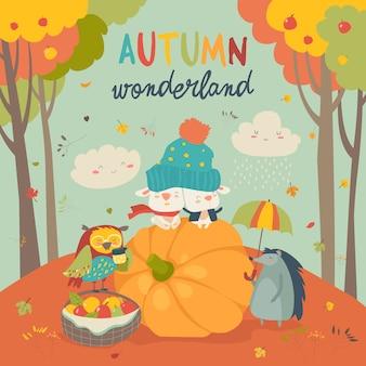 こんにちはかわいい動物と秋の背景