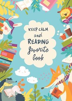 本を読んでいる動物で構成されるかわいいフレーム