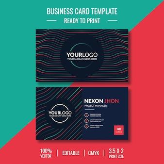 Креативный и чистый шаблон визитной карточки