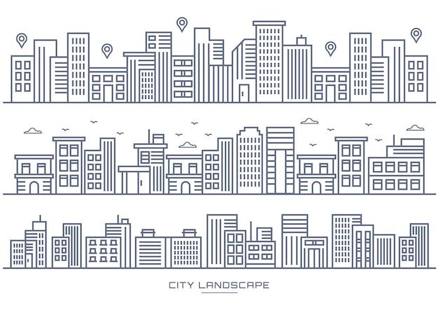 細い線都市と都市の場所