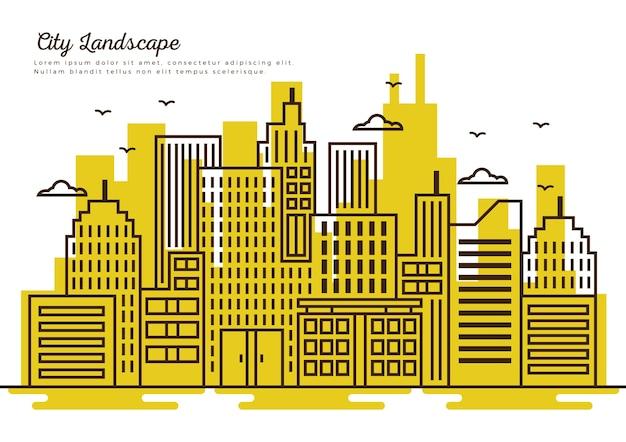 黄色の背景を持つ細い線の都市