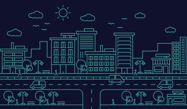 街のスカイラインストリート道路ラインデザインイラスト